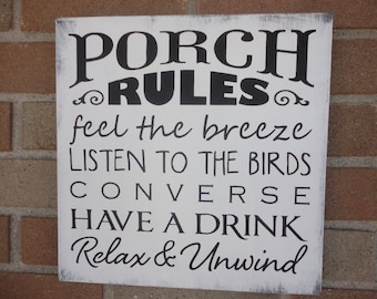"""Porch Rules Sign,Primitive Wood Sign,Sign for the Porch,Home Decor,Decor for Patio,White Distressed Porch Sign,DAWNSPAINTING,12""""x 12"""""""
