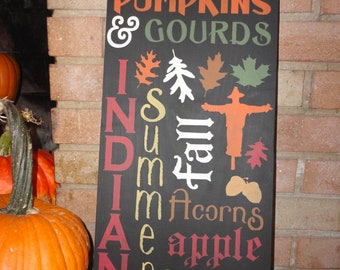 Fall Wood Sign/Autumn Decor/Home Decor/Decoration Fall/Primitive/Rustic/Country/DAWNSPAINTING/21 x 9