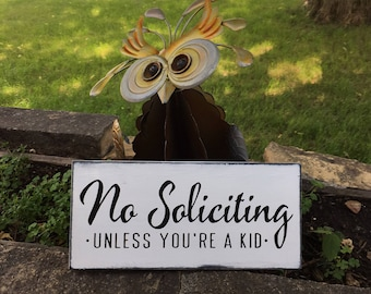 """FREE SHIPPING - No Soliciting No Soliciting Wood Sign - Farm Style Sign - No Soliciting Porch Sign - Rustic Farm Deck Patio - 12"""" x 6"""""""