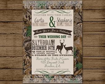 customized wedding invitation camo deer camouflage couples shower bridal shower hunting redneck wedding 5x7 digital file for print