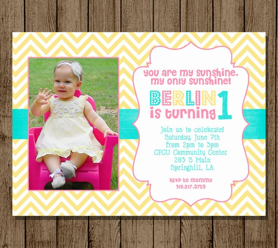 Customized Birthday Invitation With Photo Sunshine You Are