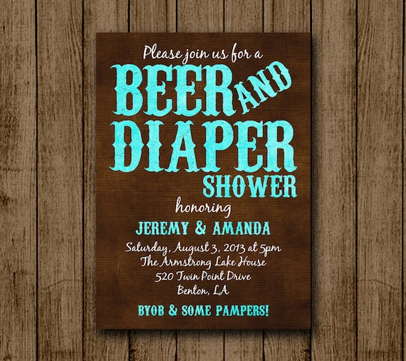 Beer And Diaper Baby Shower Man Baby Shower Beer Byob Diaper Shower Jpeg 5x7 Digital File For E Mail Or Print