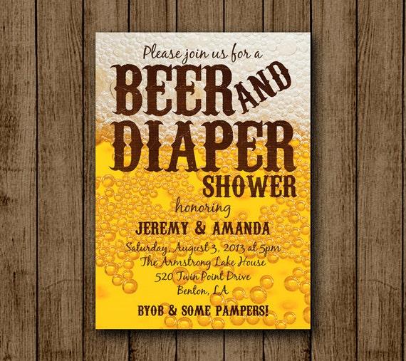 Beer And Diaper Baby Shower Invitation Man Baby Shower Beer Byob Diaper Shower Dad Invite Jpeg 5x7 Digital File Printable Jpeg Pdf Diy
