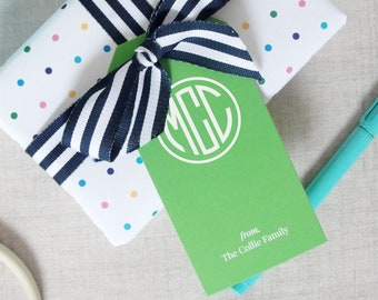Monogram Gift Tags, Set of 12 Custom Hang Tags, Personalized Solid Color Gift Packaging