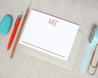Modern Two Letter Monogram Stationery | Set of 10 Personalized Flat Note Cards | Initial Monogram | Custom Colors | Gift for Him