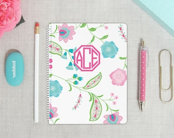 Personalized Mini Spiral Bound Notebook | Floral Paisley Pattern | Monogram Notebook | Custom Colors | Custom Notebook