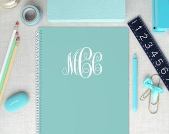 Monogram Spiral Art Sketchbook, Blank Interior Pages, Custom Colors, Gift for Artist