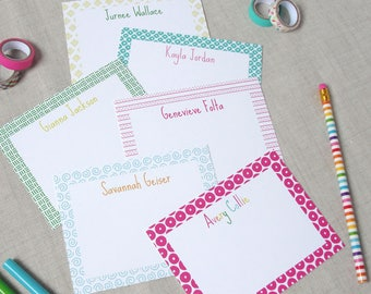 Personalized Childrens Stationery, Custom Preppy Kids Thank You Note Notes, Set of 10 Flat Note Cards