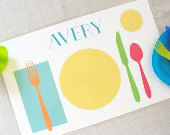 Learn to Set the Table Placemat, Personalized Children Placemat, Learn Etiquette, Gift for Kids, Preschool Age, Montessori Practical Life