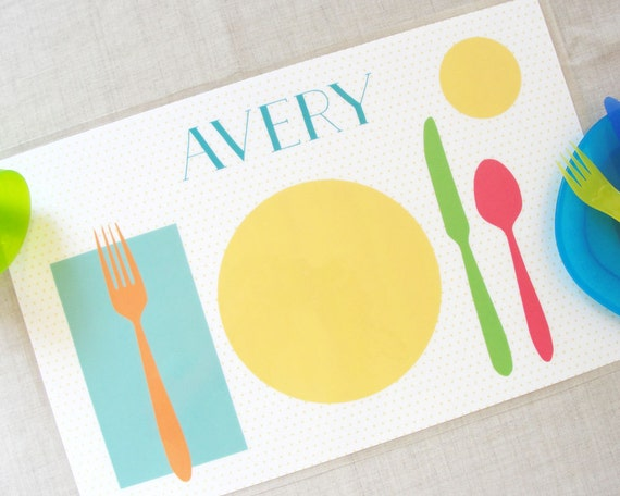 Learn to Set the table placemat Montessori Personalized children/'s placemat for Girl for Boy Preschool Learning  Montessori practical life