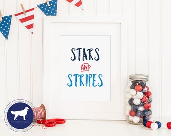 Stars and Stripes July 4th Instant PDF Download, Printable Independence Day Art Print