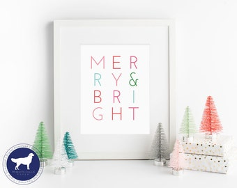 Merry and Bright | Instant Download | Printable Holiday Art Prints | Christmas Art | PDF download | Modern Typography | Christmas Decoration