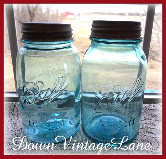 2 Blue Ball Mason Quart Jars with Zinc Lids Canning Jars Vintage Fruit Jars