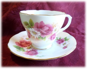 Stella Duchess Bone China Tea Cup and Saucer Pink Roses Vintage Tea Cup