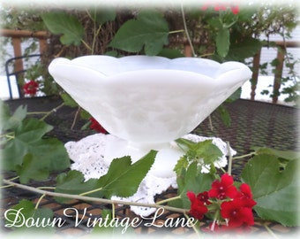 Beautiful Milk Glass Fruit Bowl Vintage Fruit Bowl Grape Leaf Design