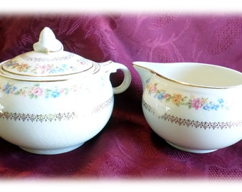 Vintage Taylor Smith & Taylor Creamer and Sugar Tan with Flowers