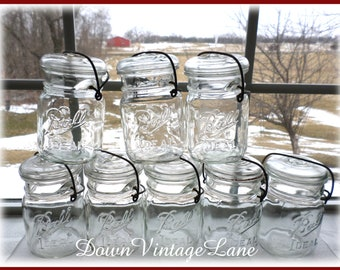8 Ball Pint Mason Jars with Wire Handles CLEAR
