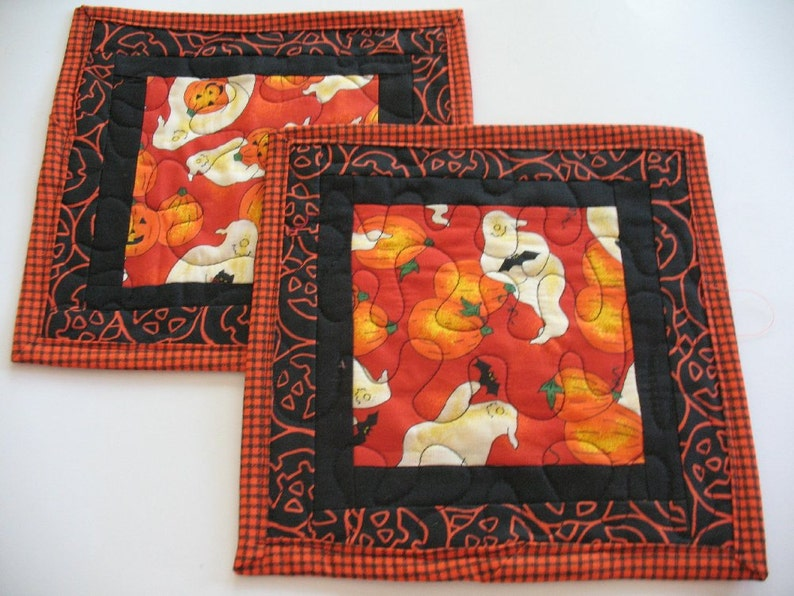 Quilted Pumpkin and Ghost Mug Rugs or Personal Placemats Set of 2 Pieces