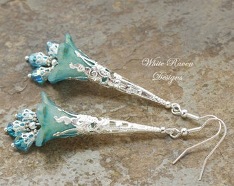 Lucite Flower Earrings Hand Dyed and Painted floral fantasy earrings by White Raven Designs WILD WOODS