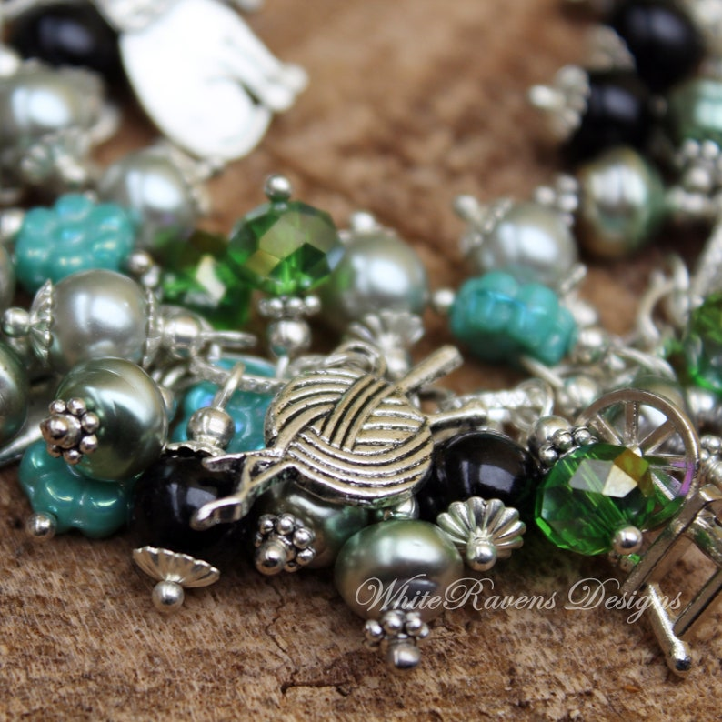 Charm Bracelet MINERVA Roman Goddess of Arts and Crafts Handcrafted by White Raven Designs Justice and Wisdom