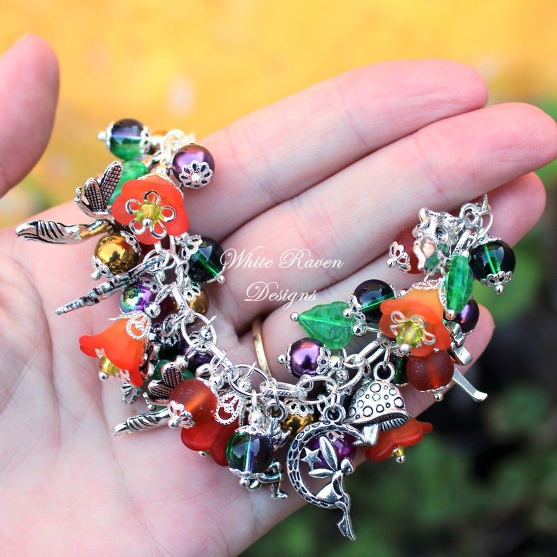 Fantasy Fairy theme Victorian Vintage Styled Fae Faerie tales FAIRIES in my GARDEN Beaded Charm Bracelet
