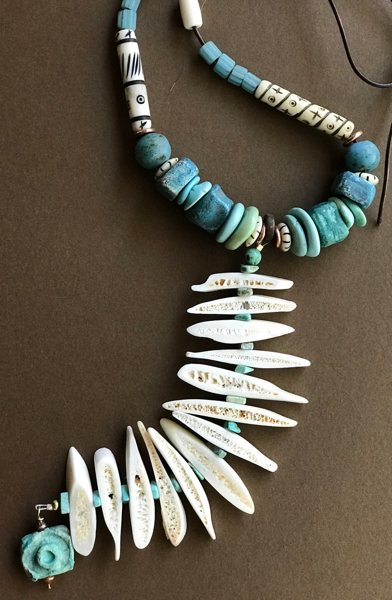Bone Spike Necklace Long 5 Inch Dangle of Creamy White Bone Spears with Turquoise and Bone Accents Organic Bone Slices Rustic Boho Jewelry