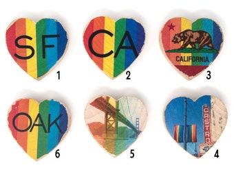 Mini Heart Magnet - Rainbow Pride San Francisco, Oakland, California Scenes - Distressed Photo Transfers on Wood - Choose