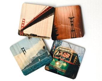San Francisco Landmarks Coasters - Set 2: Distressed Photo Transfers on Wood