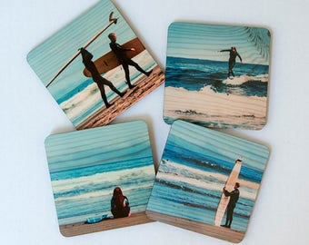 Northern California Surfer Coasters - Set 1: Distressed Photo Transfers on Wood