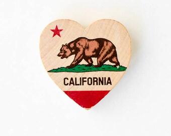"Wood Ornament or Magnet - California Bear State Flag - 2"" Mini Heart Magnet Handmade Photo Transfer on Wood"