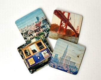 San Francisco Landmarks Coasters - Set 1: Distressed Photo Transfers on Wood
