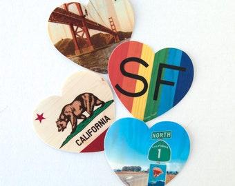 "3"" Vinyl Heart Sticker - San Francisco, California, Rainbow Pride, Highway 1 Scenes - Distressed Photo Transfers on Wood - Choose"