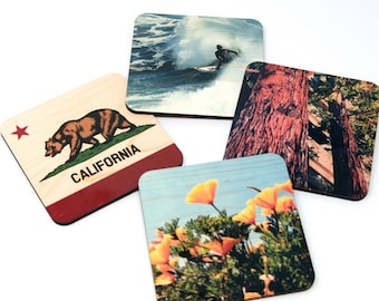 Northern California Landmarks Coasters - Distressed Photo Transfers on Wood