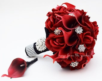 Red roses crystals bridal bouquet real touch bridal bouquet etsy red roses calla lilies rhinestones bridal bouquet real touch deep red callas red roses red black wedding bouquet boutonniere mightylinksfo