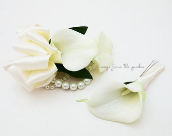 Pearl Real Touch Aqua Calla Lily Corsage Choose Calla Lily Color Picasso Light Blue Calla Lily Corsage with Burlap Wedding Lace