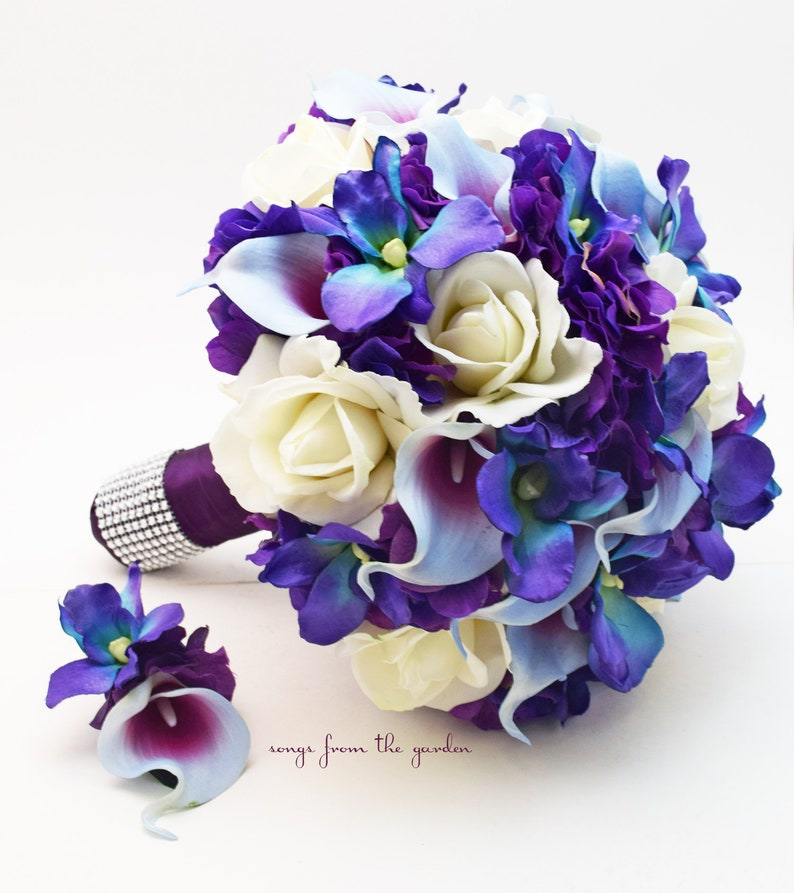 c755ce5e542fb Blue Orchid Picasso Calla Bridal Bouquet or Bridesmaid Bouquet - add a  Groom s or Groomsmen Boutonniere - Blue Purple White Wedding Bouquet
