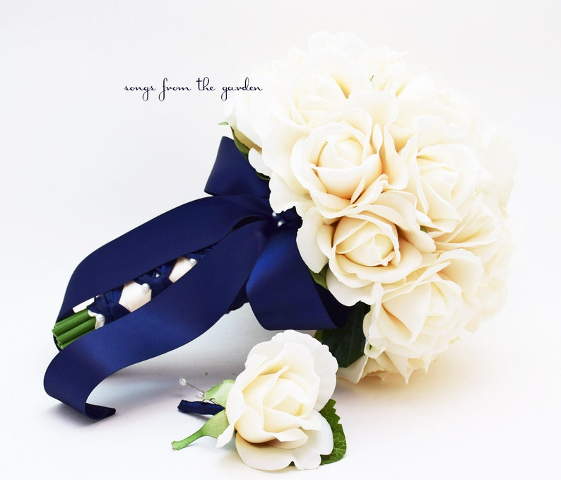 add a Groom or Groomsman Boutonniere Ivory Real Touch Roses Bridal or Bridesmaid Bouquet Choose Your Ribbon Color Ready to Ship