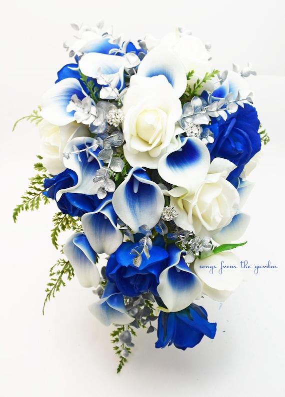Bouquet Cascata Sposa.Cascade Bridal Bouquet Silver Blue White Picasso Callas Real Etsy