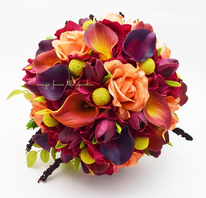 Plum Burnt Orange Calla Lilies Tulips Roses Yellow Craspedia Bridal Bouquet Grooms Boutonniere Customize For Your Wedding Colors