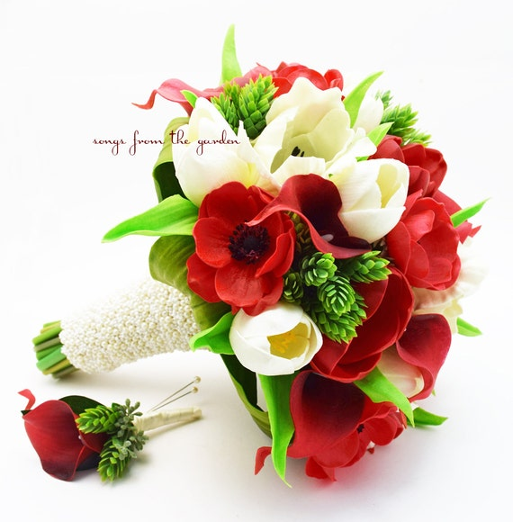 red white bridal bouquet anemones calla lilies tulips hops etsy