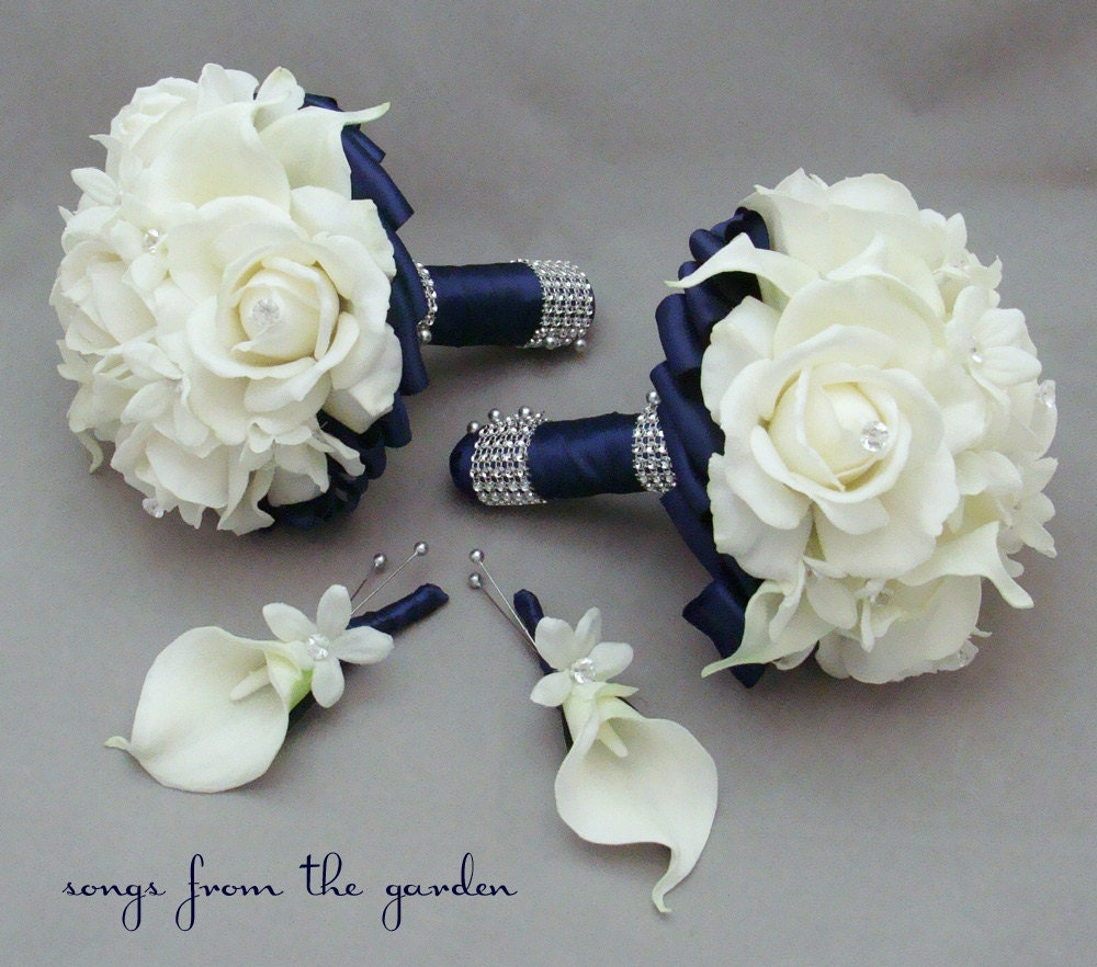 Wedding Flower Packages Cheap: Navy Wedding Flower Package Bridesmaid Bouquets Groomsman