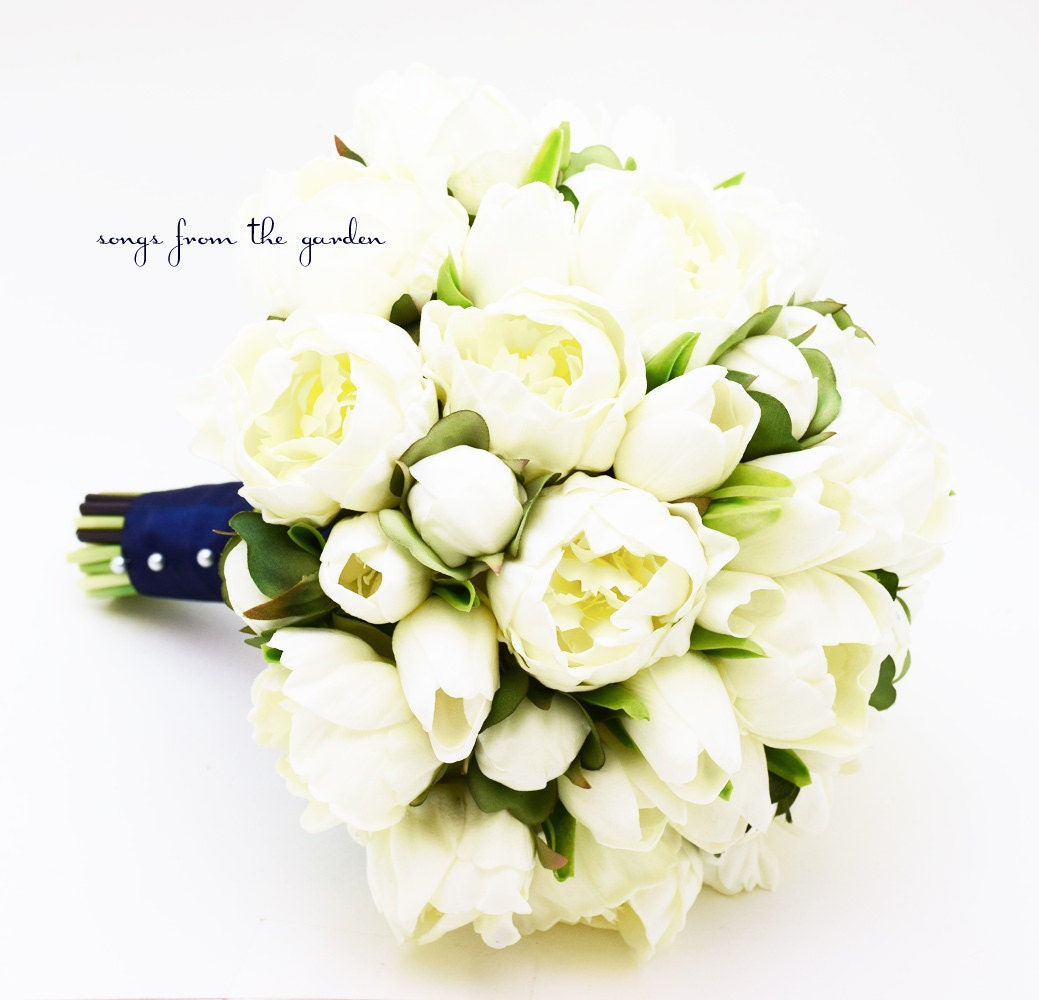 Peonies Tulips Bridal Bouquet Real Touch White Peonies Etsy