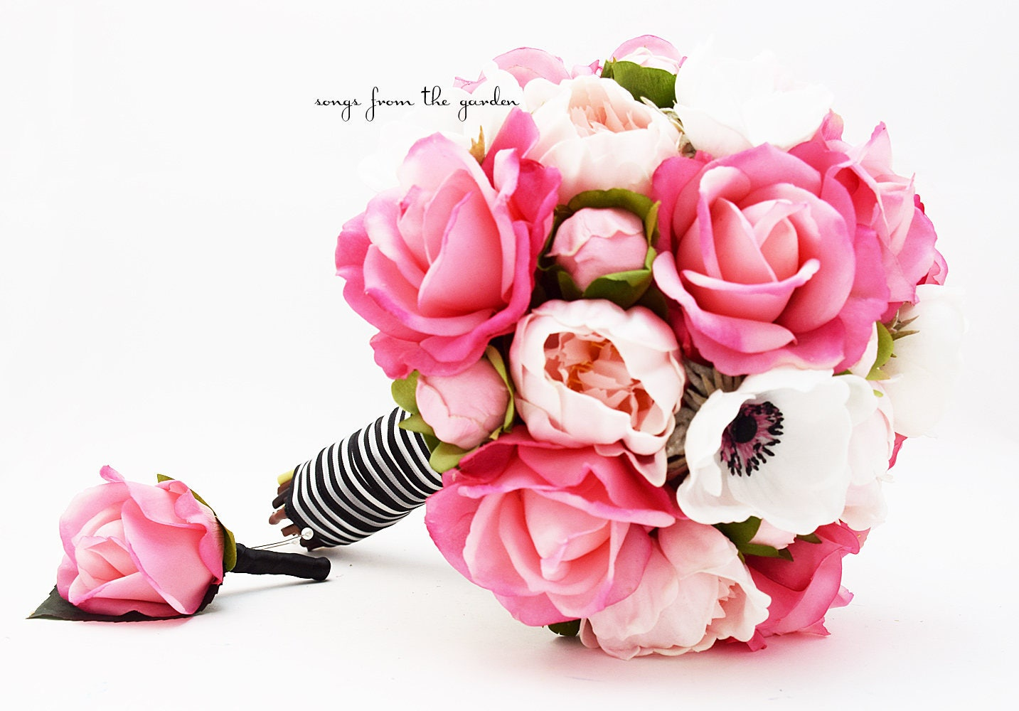 Pink Black And White Bridal Bouquet Real Touch Anemones Hot Etsy