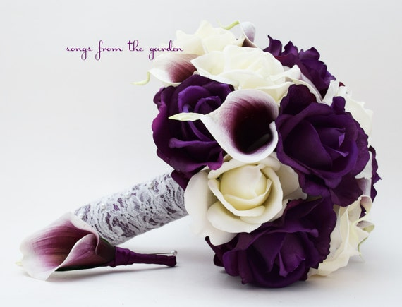 Purple white roses picasso calla lilies bridal or bridesmaid etsy image 0 mightylinksfo