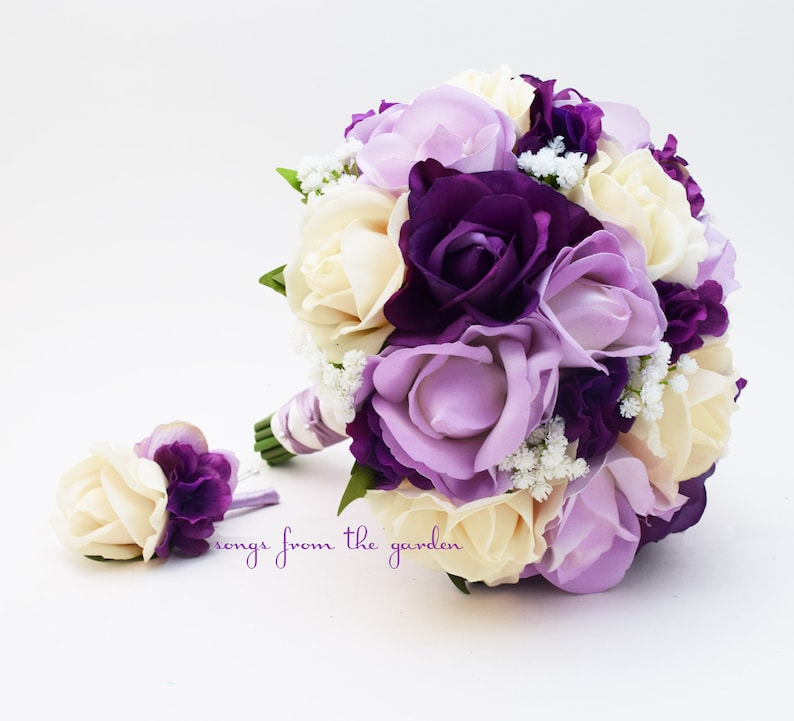 Bridal or Bridesmaid Wedding Bouquet Lavender and Ivory Roses /& Baby/'s Breath add Groom or Groomsman Boutonniere Real Touch Purple