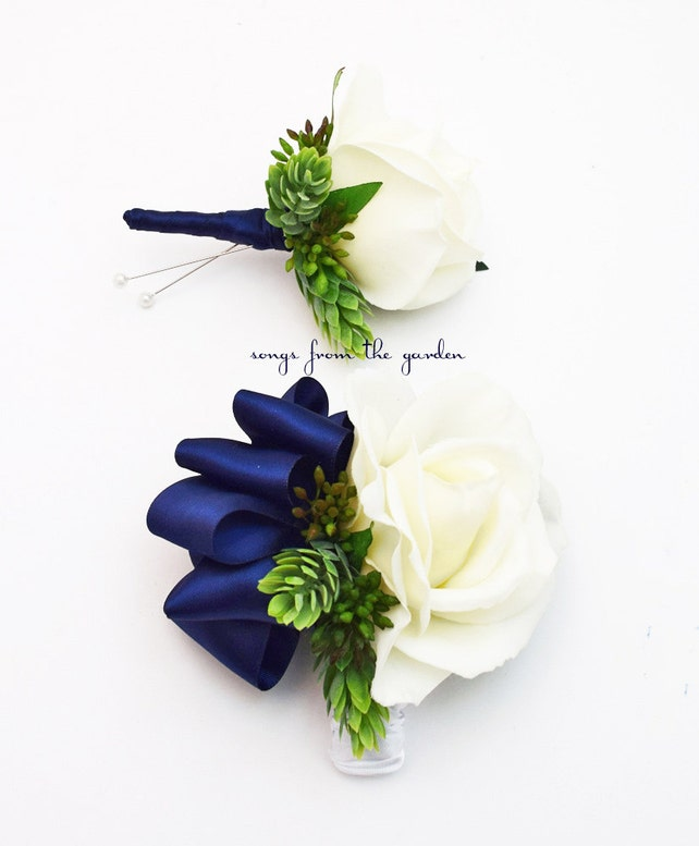 Real Touch Rose Wedding Boutonniere or Corsage - Accented with Hops & Eucualyptus - Wedding Prom Homecoming Boutonniere Pin or Wrist Corsage