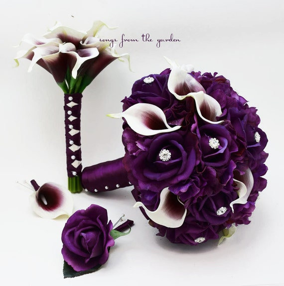 add a Groom/'s Boutonniere Bridal Bouquet Real Touch Picasso Callas Purple Ivory Roses Rhinestones /& Purple Hydrangea Choose Your Ribbon