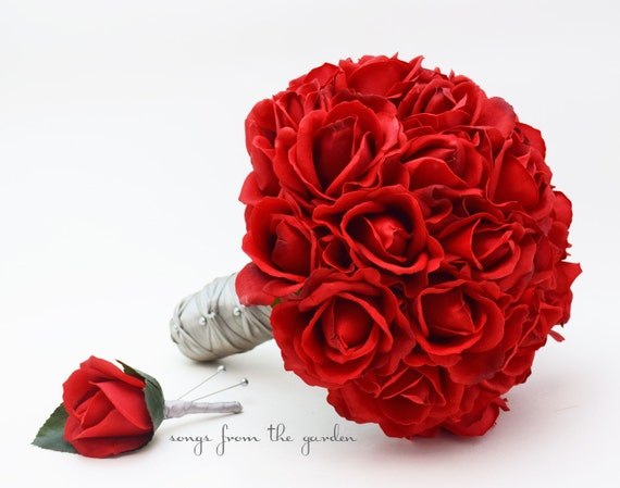 Red Roses Bridal Or Bridesmaid Bouquet Add A Groom Or Etsy