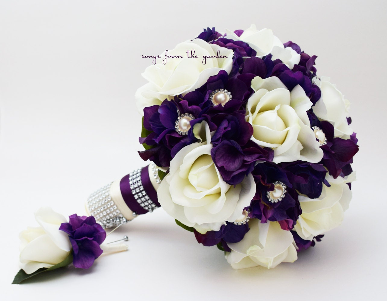purple white wedding flower bouquet real touch white roses purple hydrangea  rhinestone pearl accents - add a groom or groomsmen boutonniere