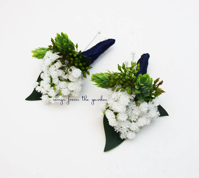 Baby's Breath Boutonnieres - Hops and Eucalyptus Accents -  Groom Groomsmen Boutonnieres Prom Homecoming Boutonniere